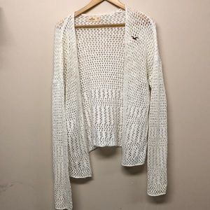 Hollister white crochet sweater